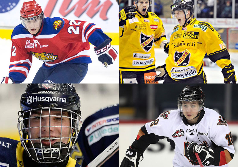 L'ailier des Moncton Wildcats, Ivan Barbashev, l'ailier de KalPa, Kasperi Kapanen, l'ailier de HV71, Kevin Fiala, et l'ailier des Calgary Hitmen, Jake VIrtanen.
