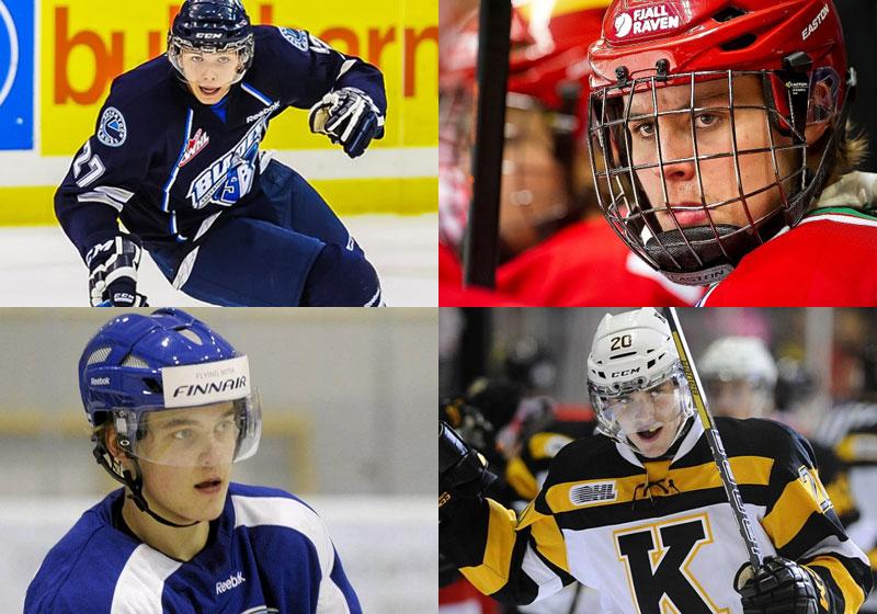 L'ailier de Saskatoon, Nikita Scherbak, celui de MODO, Adrian Kempe, le défenseur de xxxxx, Julius Honka, et celui de Kingston, Roland McKeown.